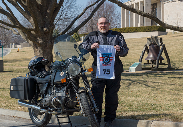 Everything in One Picture! Otus, my Grand Tour Flag, and a Liberty Bell Replica!